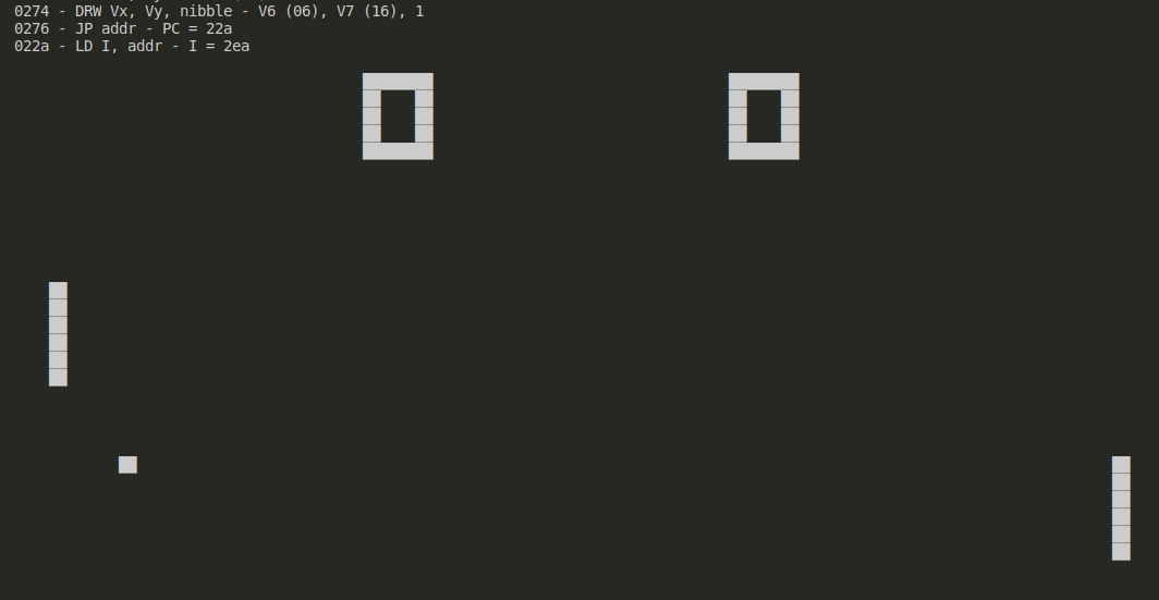 Example of test which runs PONG and prints a dump of the framebuffer on the end